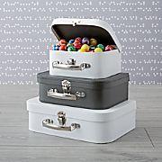 Bon Voyage Black and White Suitcase Set