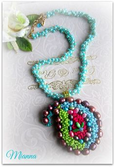 Mianna ... Paisley bead embroidery necklace by dwear.rooms