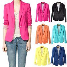 New Moda Feminina Dos Doces Cor Básico Brasão De Slim Suit Jacket Blazer 6 Cores