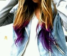 Cute Dirty Blonde with a melted purple tipped hair