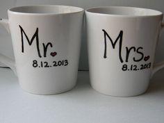 mr and mrs husband wife wedding date matching coffee mugs wedding gift spouse gift lover coffee tea mug gift on Etsy, $21.50