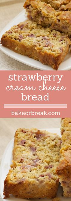 Strawberry Cream Cheese Bread is packed with oats, brown sugar, cream cheese, and plenty of fresh strawberries. - Bake or… Easy Cake Recipes, Baking Recipes, Sweet Recipes, Dessert Recipes, Bread Recipes, Baking Ideas, Cream Cheese Bread, Cream Cheese Desserts, Cream Cheeses
