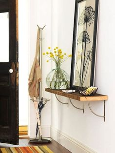 Small entry ideas. Small floating shelf or even a faux console table on a small wall.