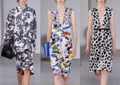Jil Sander S/S 2014-Art House Prints – Painted Abstract Styling – Two Tone Feather Prints – Alighiero Boetti Art in Repeat Form – Monochrome Looks – Scattered P...