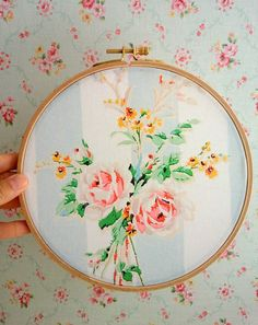 Embroidery Hoop Art / shabby chic style $28 @ Etsy