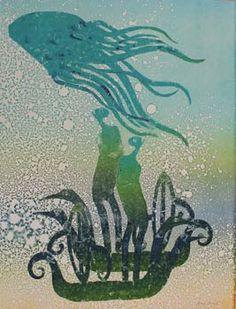 "Arone Meeks / Irukandji 2011 acrylic on arches paper 80 x Exhibition THE BIG WET ""kuki au thonar"" Australian Bush, Arches Paper, Black And White Prints, Indigenous Art, Aboriginal Art, Abstract Canvas, Mythology, Art For Kids, Moose Art"