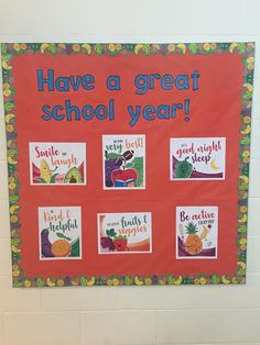 Have a great school year with healthy habits! Kitchen Bulletin Boards, Cafeteria Bulletin Boards, Health Bulletin Boards, Nurse Bulletin Board, Healthy Meals For Kids, Healthy Recipes, Healthy Habbits, School Fun, School Stuff