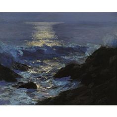 """""""Seascape Moonlight,"""" Edward Henry Potthast, oil on board, 16 x 20"""", private collection."""