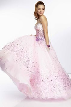 ombre strapless ball gown beading