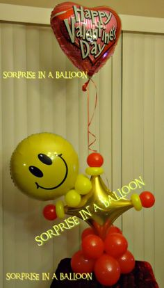 HAPPY FACE WITH BALLOONS BY SORPRISE IN A BALLOON