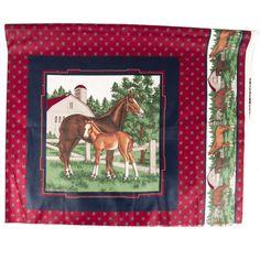 Vtg Horse Fabric Cranston VIP Quilting Pillow Equestrian Cotton 1 yd Crafts  #CranstonVIP