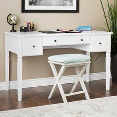Cami White 3-drawer Writing Desk