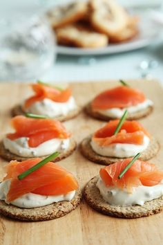 Party Appetizer: Smoked Salmon on a graham cracker or bagel chip with mayonnaise or cream cheese.