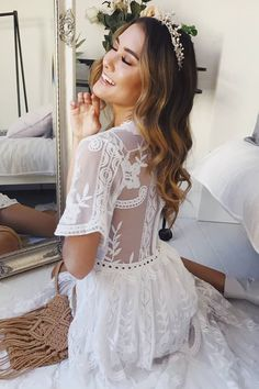 Looking for a cute bridal shower or kitchen tea outfit? Check out my 40 Stunning Bridal Shower and Kitchen Tea Dresses for the Bride Shower Dress For Bride, White Bridal Shower Dress, Bride Shower, White Wedding Dresses, Bridal Shower Bride Outfit, White Weddings, Dress Wedding, Cute White Dress, White Lace