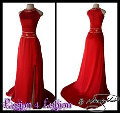 Red and gold flowy matric dance dress. With a rounded neckline and a train. Belt and neckline detailed with gold. With a slit. #mariselaveludo #fashion #matricdance #matricdress #passion4fashion #reddress #redeveningdress #promdress #eveningdress #redflowydress