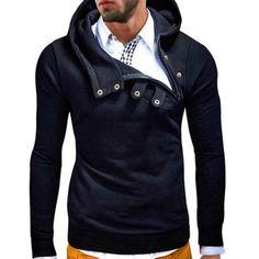 Fashion Men Hoodies Plus Size Long Sleeve Solid Color Sweatshirts Hip Hop Inclined Zipper Moletom Masculino Casual Hooded Coat