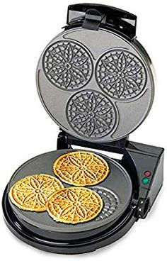 Chef'sChoice 8350000 PizzellePro Express Bake Nonstick Pizzelle Maker Features Color Select Control and Instant Temperature Recovery Easy to Clean, Silver Pizzelle Maker, Pizzelle Cookies, Waffle Cookies, Chef's Choice, Italian Cookies, Cool Kitchen Gadgets, Make Ahead Meals, Specialty Appliances, Waffle Iron