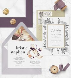 Greenvelope on Instagram: �Today on the blog, we've got the most popular wedding invitation trends for 2019. {link in bio} Wedding Day Timeline, Wedding Vows, Wedding Cards, Electronic Invitations, Online Invitations, Wedding Invitation Trends, Purple Wedding, Gold Wedding, Real Weddings