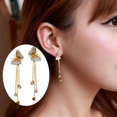 Cute Gold Butterfly Dangle Earrings