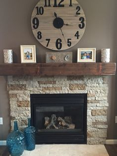 Lowe's air stone and barn beam mantle