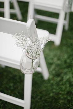 Jar Chair Flowers Aisle Ceremony Baby Breath Gypsophila Fresh DIY Orchard Rustic Barn Indiana Wedding http://www.chloejennings.com/