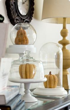 I have changed up my DIY Cloches that I made from a cheese ball tray and other random things found at the Thrift Store and added pumpkins for a fall vignette. Cheese Dome, Cheese Ball, All You Need Is, Cloche Decor, Knock Off Decor, Fall Vignettes, Thrift Store Crafts, Diy Clock, Autumn Home