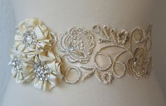 pretty and has the golden look to it - Pale Champagne Lace Bridal Sash, Silk Flowers and Rhinestone Wedding Belt, Gold Bridal Belt - FALON. $116.00, via Etsy.