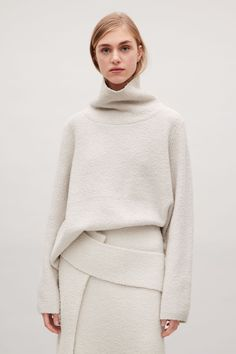 COS image 2 of High-neck wool jumper  in Ivory