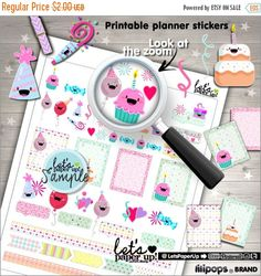 60%OFF - Birthday Stickers, Printable Planner Stickers, Celebration Stickers, Party Stickers, Cute Stickers, Erin Condren, Planner Accessori