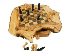 Rustic Chess Set Engraved Olive Wood custom natural by ZitounaWood