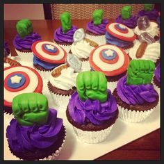 Www.Facebook.com/cocossugarshack   The avengers chocolate cupcakes with butter cream frosting and fondant toppers