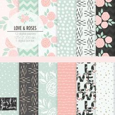 Mint pink and grey shabby chic digital paper by RusticDigitalPaper
