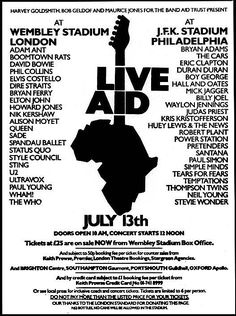 Live Aid (July : Poster for the concert in Philadelphia Another in my top A most amazing day and only the second time I saw Freddie Mercury sing live - what a show, he and Bowie were brilliant Rock Posters, Band Posters, Queen Logo, The Beatles, U2 Live, Rock Vintage, Live Aid, Concert Flyer, Elvis Costello