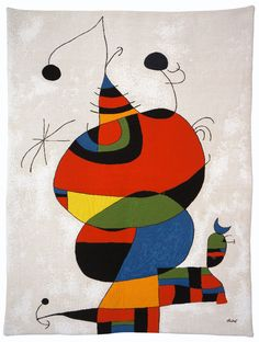 This French tapestry is a nearly identical reproduction of the oil canvas originally painted by Joan Miro in 1966-1973. In accordance with an agreement with the Miro Estate, Jules Pansu uses differen