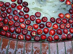 Red brick, red apples