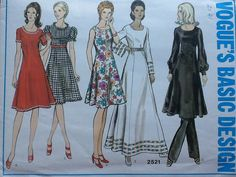 Vogue pattern 2521. Vintage uncut misses' high fitted princess seamed flared dress in three lengths. Trim variations. Size 14. by Stitchandzip on Etsy
