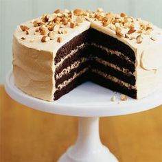 Toffee Crunch Cake | MyRecipes.com...Add dynamic texture to your dessert offering by serving a rich, moist chocolate cake layered with a crunchy mixture of toffee candies and caramel créme. Frost with caramel créme and top with toasted almonds.
