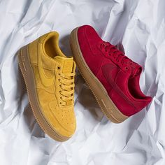 Nike Air Force 1 red and yellow. Footasylum womens