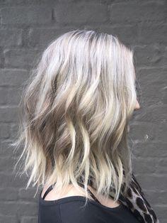 Icy blonde lob by Essie hair and makeup