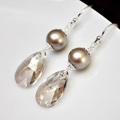 Bridesmaid Earrings. Silver Crystal Earrings. Long Crystal Pearl Earrings. Teardrop Earrings. Bridesmaids Jewelry, Bridesmaid Jewellery