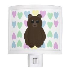 Cute Bear Drawing with Multicolored Hearts Night Light - drawing sketch design graphic draw personalize