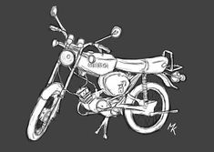 Simson s51 sketch, grey/white Simson Moped, Motor Scooters, Mopeds, Dads, Sketches, Retro, Design, Autos, Drawing S