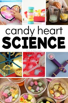 Creative ways to LEARN with the multitude of candy hearts youre sure to have around this Valentines Day! Kids will love these science activities and experiments. Preschool Lesson Plans, Preschool Themes, Preschool Science, Science For Kids, Science Experiments For Preschoolers, Early Learning Activities, Stem Activities, Winter Activities, Family Activities