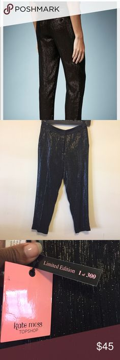 """Kate Moss x TopShop Lame Tuxedo Pant Limited Edition.  Sold out.  Never worn (were too small)...Beautiful satin and shine look.  Slim and tapered leg.  Tailored tuxedo pants are crafted from textured Italian lame with a satin waistband and taffeta lining. - 27"""" inseam; 14 1/2"""" leg opening; 10 3/4"""" front rise; 14 1/2"""" back rise (size 8) - 64% viscose, 29% acetate, 7% metallic fibers - Dry clean Topshop Pants"""