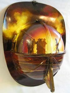 Firefighter Equipment Art - Unique, 1 of a kind, Hand Painted Firefighter Scenes. Holy shit these are amazing! Need to learn how to do the fire airbrush! I know where I can get tons of old helmets and equipment like this! Firefighter Paramedic, Firefighter Decor, Volunteer Firefighter, Firefighter Family, Firefighter Quotes, Firefighter Tools, Firefighter Pictures, Female Firefighter, Firefighter Equipment
