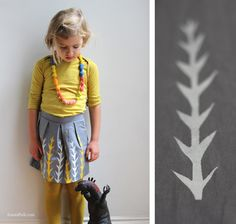 Rokje London skirt -   grey - Hand made and hand printed in London.  100% cotton. Yellow and white print.