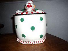 vtg Ucagco Japan Ceramics Circus Clown Painted Cookie Jar Biscuit