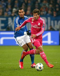 Lucas Silva of Real Madrid in action during the UEFA Champions League round of 16 first leg match between Schalke 04 and Real Madrid CF at Veltins-Arena on February 18, 2015 in Madrid, Spain.