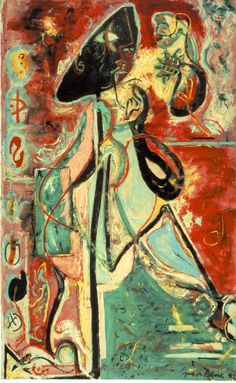 "Jackson Pollock - Moon Woman, 1942, oil on canvas - ""Like other members of the New York School, Jackson Pollock was influenced in his early work by Joan Miró and Pablo Picasso, and seized on the Surrealists' concept of the unconscious as the source of art. In the late 1930s Pollock introduced imagery based on totemic or mythic figures, ideographic signs, and ritualistic events, which have been interpreted as pertaining to the buried experiences and cultural memories of the psyche."""