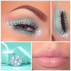 Gorgeous Tiffany & Co. inspired makeup look! The eyeshadow is the Tiffany blue we love, and the white winged eyeliner is even topped with little crystals!